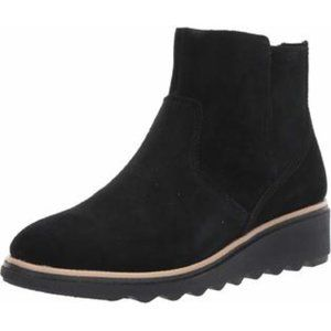 CLARKS Collection Sharon Swing Black Suede Boots
